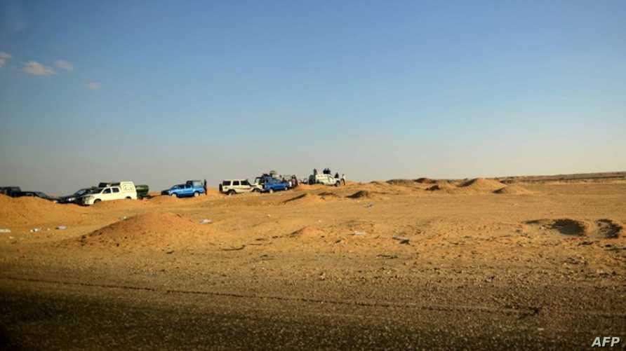 قوات من الأمن المصري في منطقة صحراوية