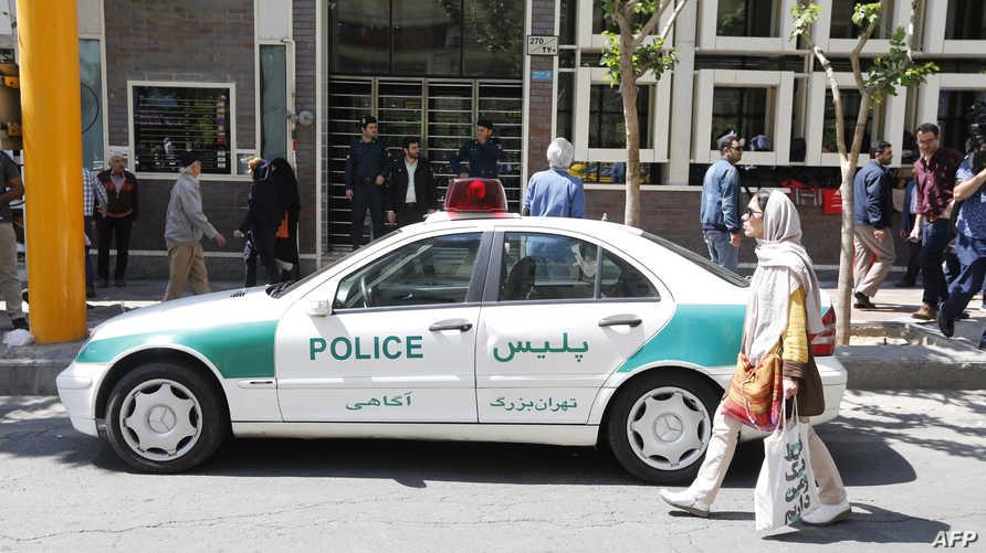 سيارة تابعة للشرطة الإيرانية في طهران- أرشيف