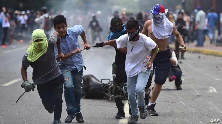 مظاهرات معارضة لنيكولاس مادورو في فنزويلا