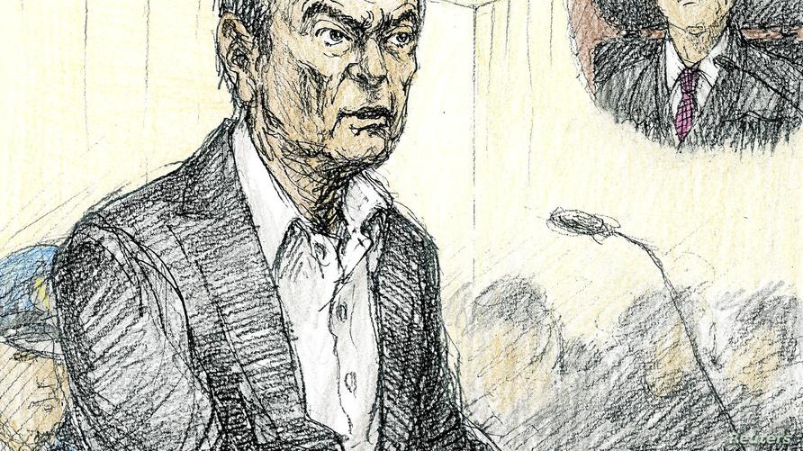 رسم قضائي رسمه نوبوتوشي كاتسوياما ، يظهر كارلوس غصن خلال جلسة استماع مفتوحة لسماع سبب استمرار احتجازه، في محكمة طوكيو في طوكيو باليابان.