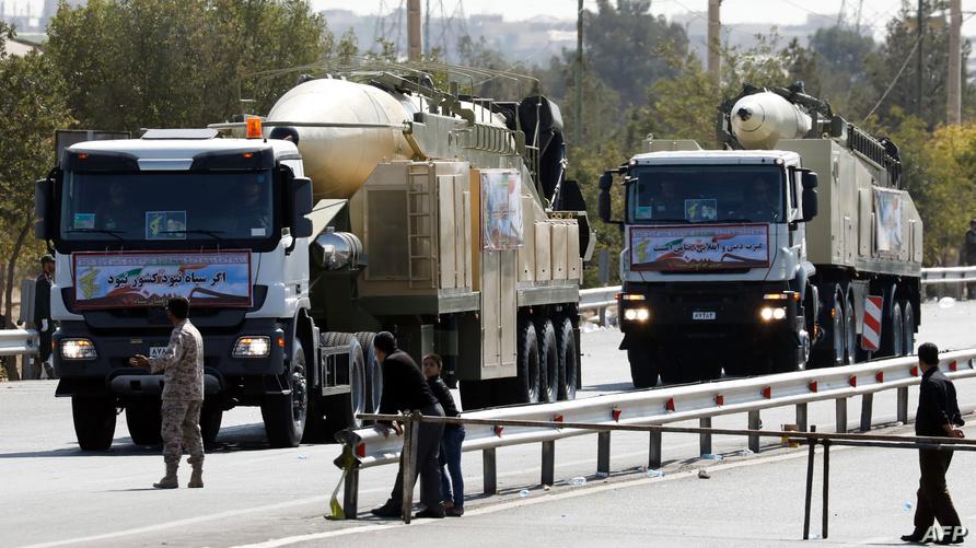 صواريخ إيرانية في استعراض عسكري سابق