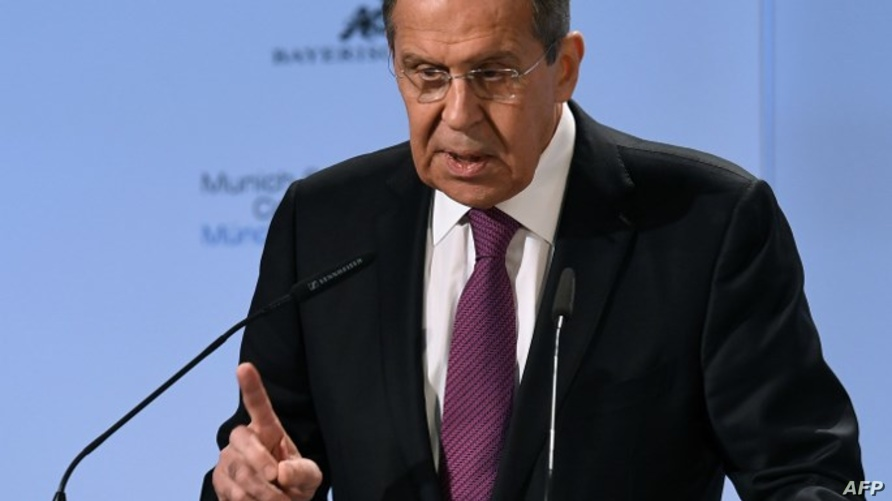 وزير الخارجية الروسي سيرغي لافروف خلال المؤتمر