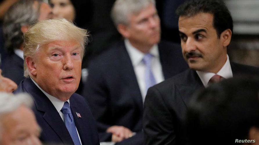 الرئيس دونالد ترامب وأمير قطر تميم بن حمد آل ثاني
