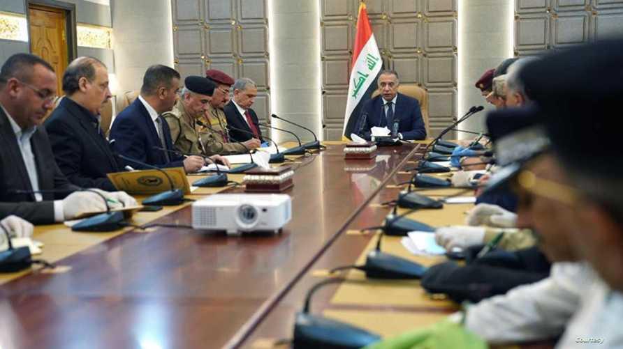 الكاظمي خلال لقائه قيادات وزارة الداخلية العراقية