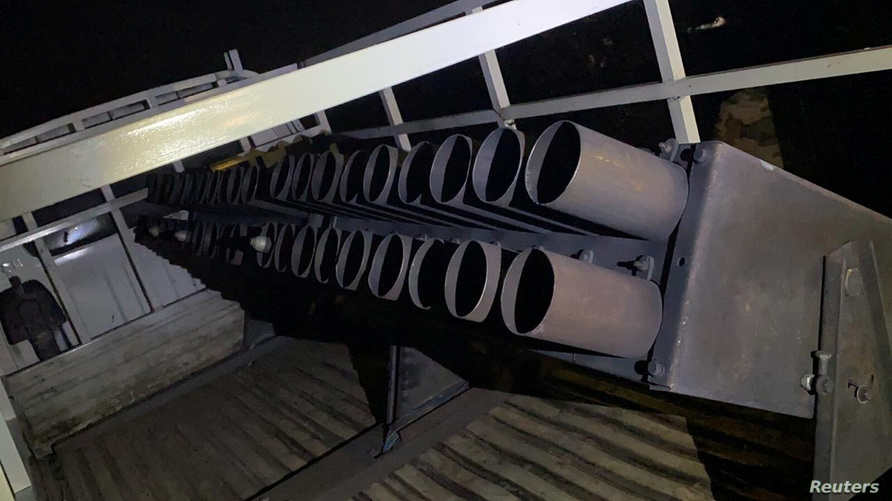 A truck loaded with Katyusha rockets is seen in Rashidiya, after ten rockets struck the Taji military camp, which house also U…