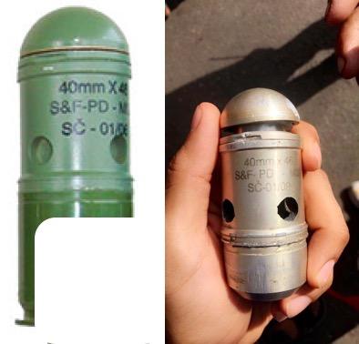 يسار: قنبلة M01 الصوتية والضوئية من تصنيع سلوبادا شاك. يمين: قنبلة 40 مام يقال إنه تم استخراجها من أحد المحتجين.