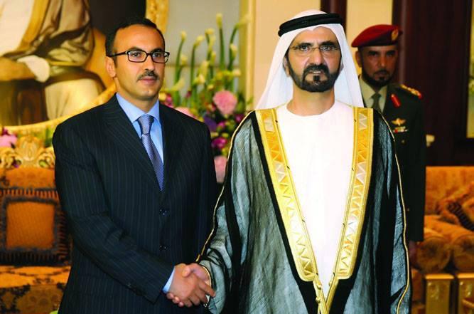 أحمد صالح ونائب رئيس الإمارات محمد بن راشد آل مكتوم
