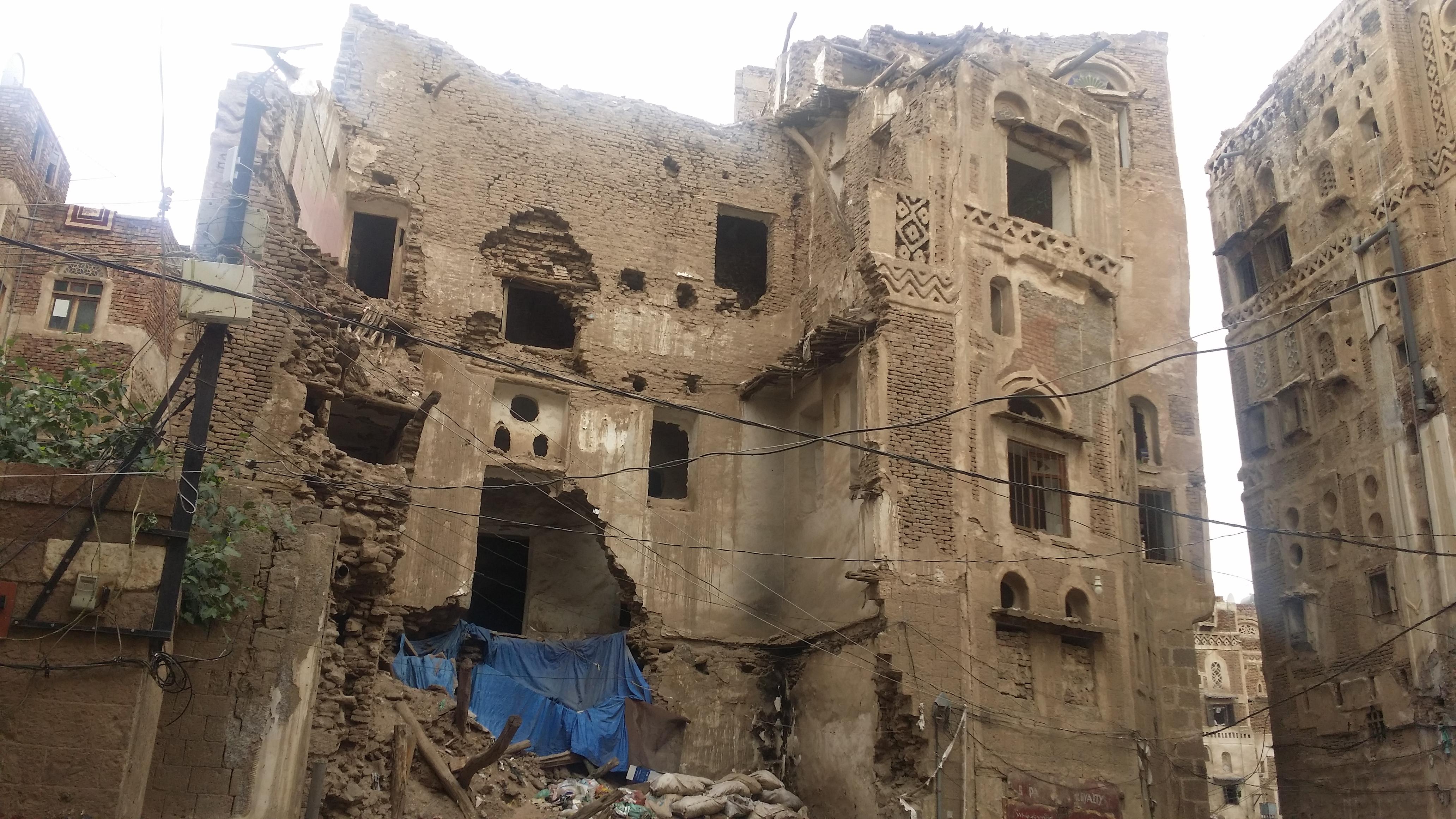 منزل تاريخي مدمر بمدينة صنعاء القديمة- ارفع صوتك