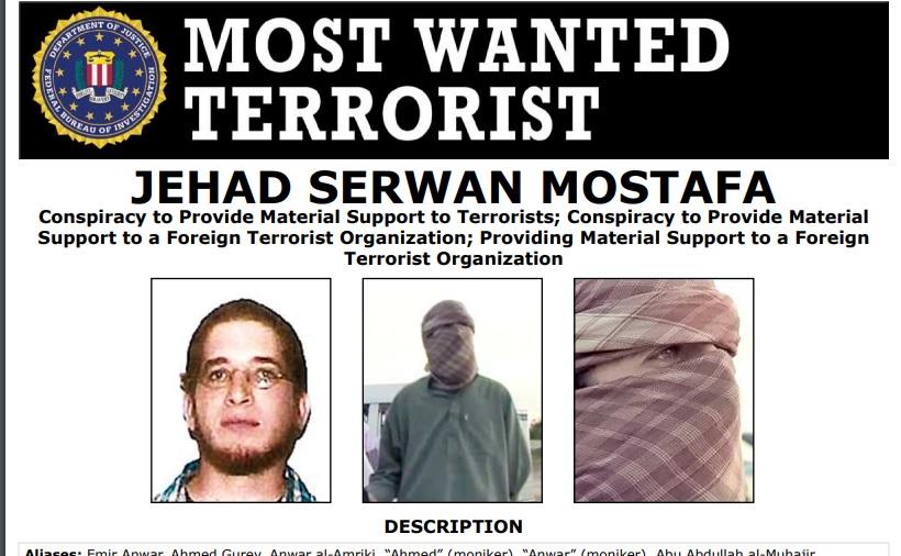 السلطات الأميركية رصدت خمسة ملايين دولار لمعلومات تؤدي إلى اعتقال جهاد سيروان مصطفى