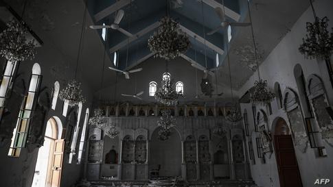 """تظهر الصورة كنيسة """"سانت إلياس"""" في منطقة حرستا شمال شرقي دمشق/ ا ف ب"""