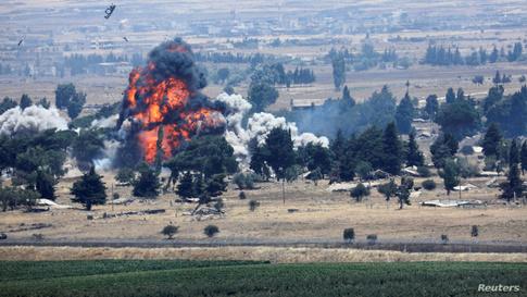 انفجار في منطقة القنيطرة على الجانب السوري من الحدود السورية الإسرائيلية