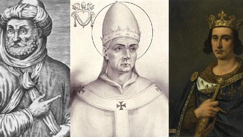 من اليمين: ملك فرنسا لويس التاسع، البابا بلاجيوس الثاني، سلطان المغرب أحمد المنصور الذهبي.