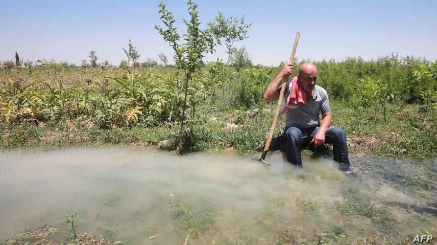 المزارع رضوان هزاع يستريح قرب إحدى قنوات المياه في حقله بدير العصافير في الغوطة الشرقية.