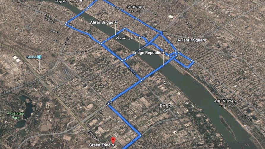 توضح هذه الصورة من خرائط غوغل، الجسور المشاركة في الثورة والمسافاة بينها وساحة التحرير من جهة والمنطقة الخضراء من جهة أخرى