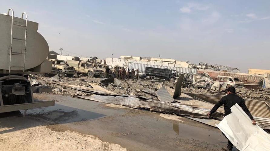 صورة متداولة على مواقع التواصل الاجتماعي لمعسكر الصقر جنوب بغداد بعد يوم من حادث احتراقه