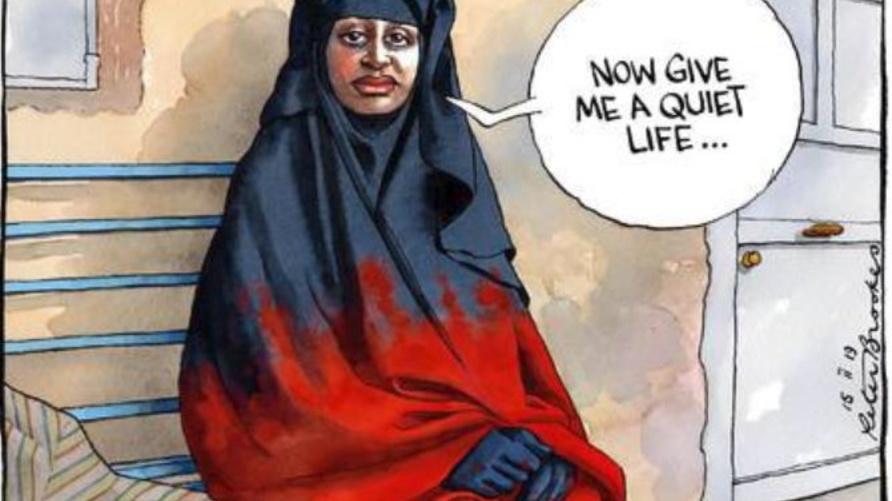 كاريكاتير ساخر من تصريحات شميمة بيجوم/ تويتر