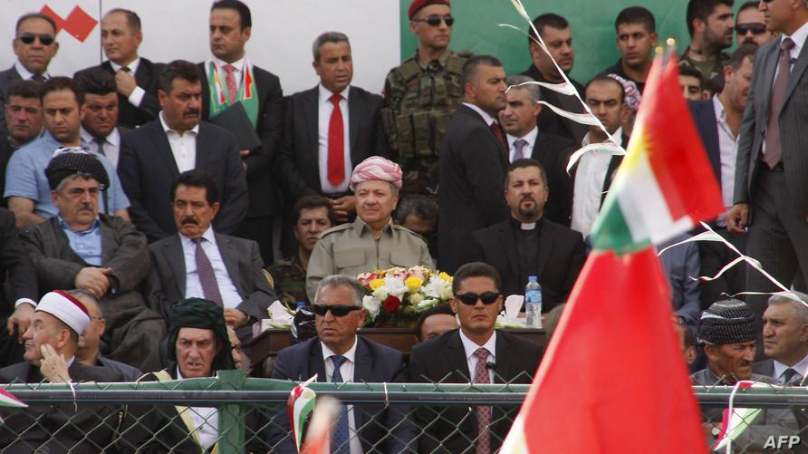 رئيس إقليم كردستان العراق مسعود بارزاني خلال حملة لدعم الاستفتاء