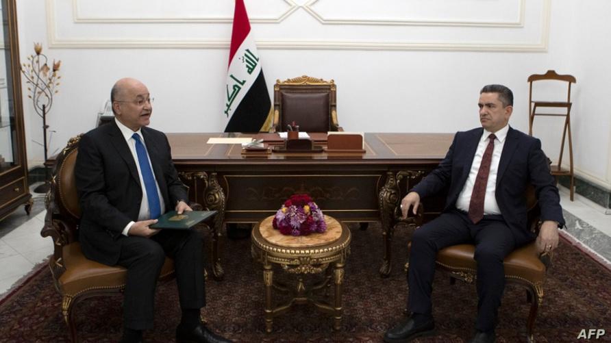 الرئيس برهم صالح في لقاء مع رئيس الوزراء المكلف عدنان الزرفي في قصره ببغداد