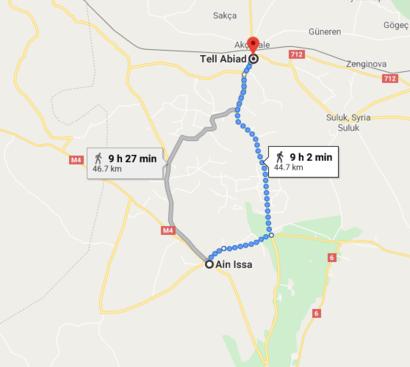 صورة تقريبية للمسافة بين عين عيسى وتل أبيض/ المصدر: غوغل مابس